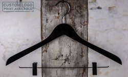 Wooden hanger with clips and black shiny finish, 44 cm, style 212.111.00