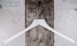 Wooden hanger for tops with white shiny finish, 44 cm, style 1712-115-80