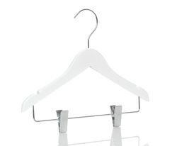 Wooden hanger with clips, white shiny finish, 32 cm, 1212-107-80