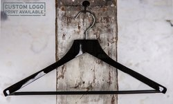Wooden hanger with widened shoulders and pantbar, black shiny finish, 45 cm, style 1712-121-00