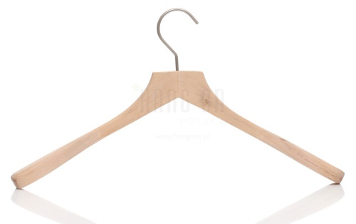 Wooden hanger for coats with widened shoulders and nature finish, 45 cm, style 1712-120-00