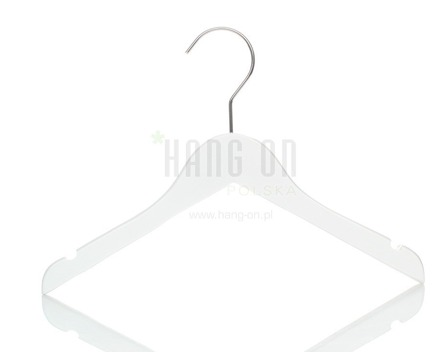 Wooden hanger for tops, white shiny finish, 32 cm, style 1212-106-80
