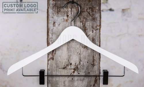Wooden hanger for tops, white shiny finish, 44 cm, 212-111-80