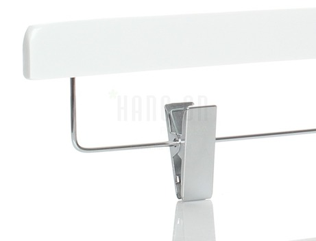 Wooden hanger with clips and white shiny finish, 36 cm, style 2011-104-80