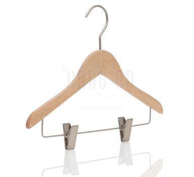 Wooden hanger with clips bar and nature finish, 32 cm, style 1212-106-998
