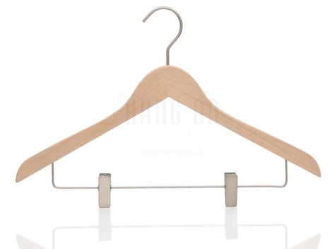 Wooden hanger with clips bar and nature finish, 44 cm, style 212-111-998