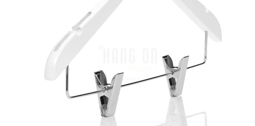 Wooden hanger with clips bar and shiny white finish, 38 cm, style 1212-107-80